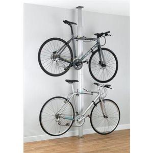 Support Aluminium 2 Vélos (Plancher / Plafond) Anodisé Argent